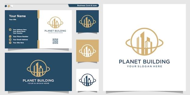 Planeet logo met gebouw lijn kunststijl en visitekaartje ontwerpsjabloon Premium Vector