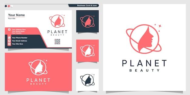 Planeet logo met schoonheid vrouw lijn kunststijl en visitekaartje ontwerpsjabloon Premium Vector