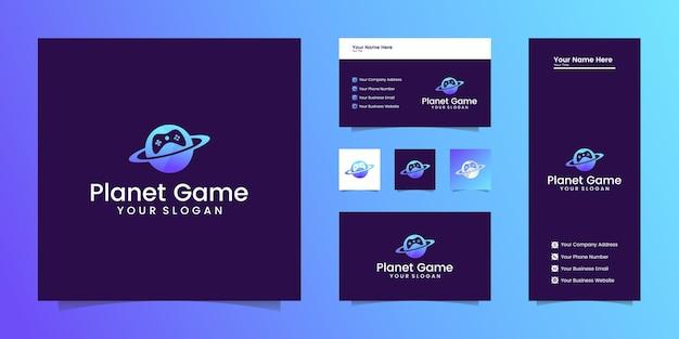 Planet game-logo combinatie van planeten en joystick-game en visitekaartjes Premium Vector