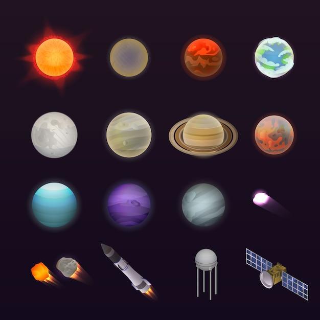 Planeten pictogramserie. isometrische set van planeten vector iconen voor webdesign geïsoleerd op een witte achtergrond Premium Vector