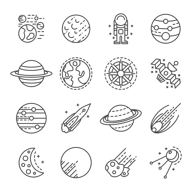 Planeten pictogramserie. overzichtsreeks planeten vectorpictogrammen Premium Vector