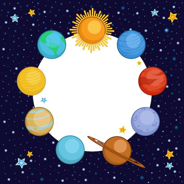 Planeten van zonnestelsel met ronde plaats voor tekst Premium Vector