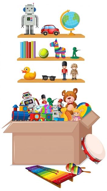 Plank en doos vol speelgoed op wit Gratis Vector