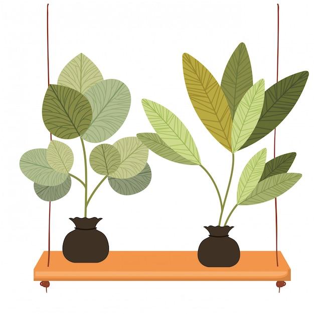 Plank planten geïsoleerde pictogram Premium Vector
