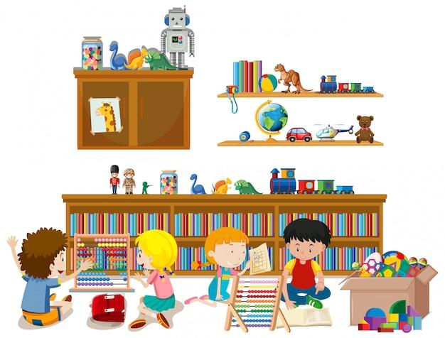 Plank vol met boeken en speelgoed geïsoleerd Gratis Vector