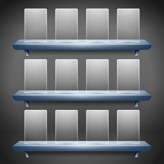 Plank voor exposeren met lege glazen knoppen Premium Vector