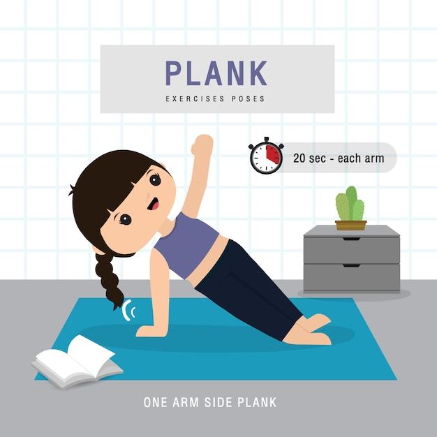 Plank workout. vrouw die planking-oefening en yoga opleiding doen bij gymnastiekhuis, verblijf thuis concept. karakter cartoon illustratie Premium Vector