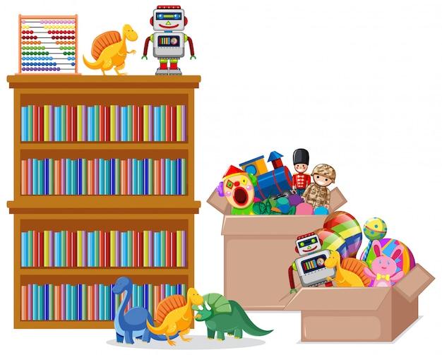 Plankhoogtepunt van boeken en speelgoed op witte achtergrond Gratis Vector