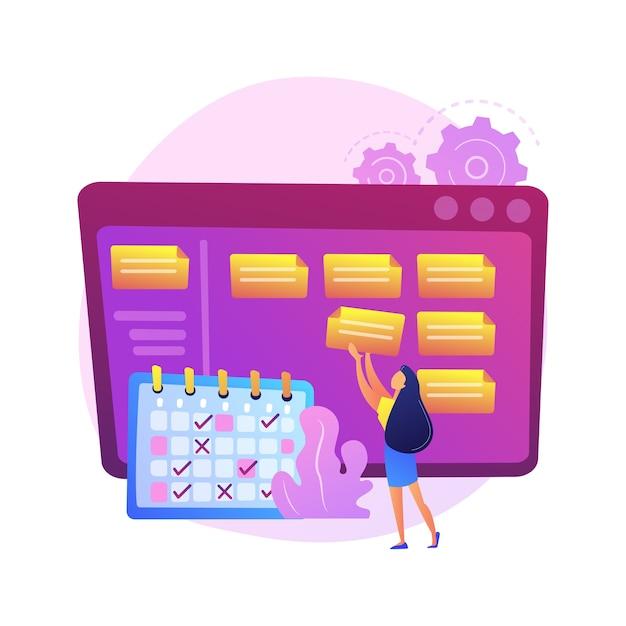 Plannen, plannen, doelen stellen. planning, timing, workflowoptimalisatie, nota nemen van opdracht. zakenvrouw met tijdschema stripfiguur. Gratis Vector