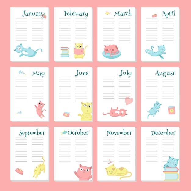 Planner kalender vector sjabloon met schattige katten Premium Vector