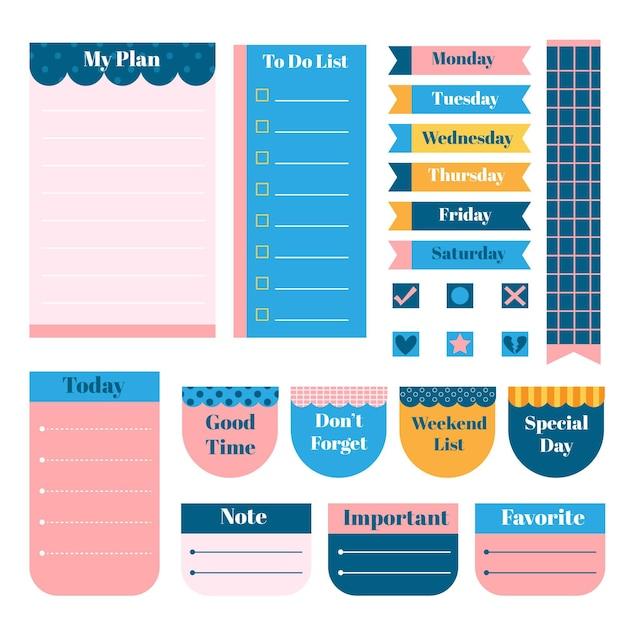 Planner plakboek set met divers briefpapier Gratis Vector