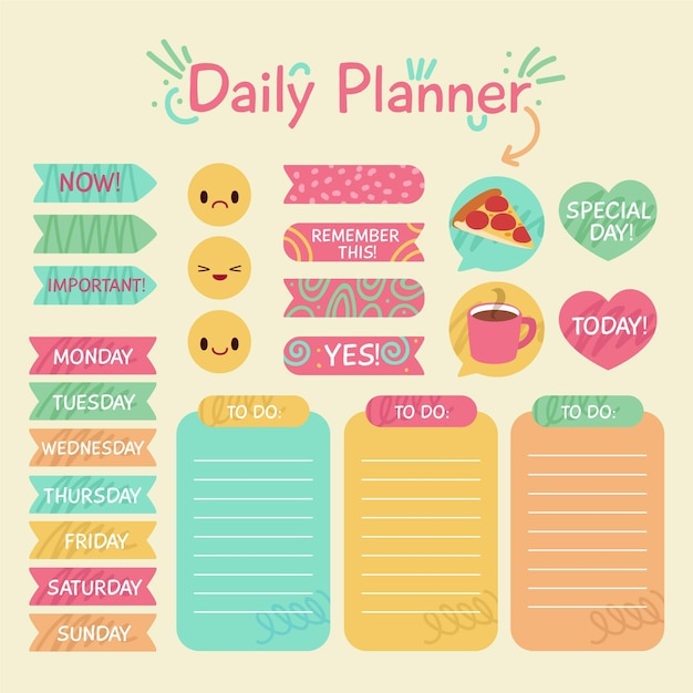 Planner plakboek set Gratis Vector