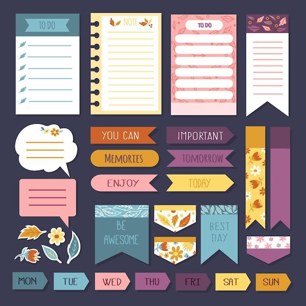 Planner post-its en plakboekset met geheugennotities Gratis Vector