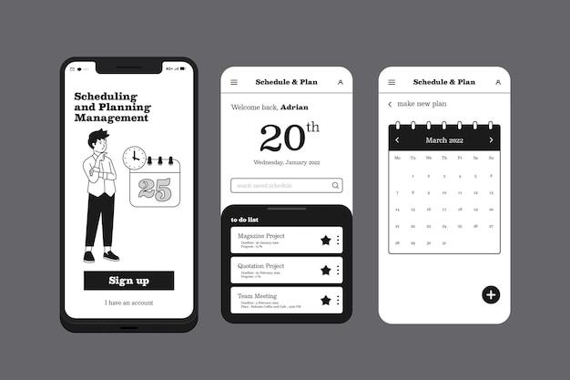Planning beheer mobiele telefoon app Gratis Vector