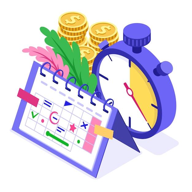 Planning planning tijdbeheer planning onderwijs vanuit huis met stopwatch kiest doelen op schema kalender deadline tijd isometrische infographics bedrijf geïsoleerd Premium Vector
