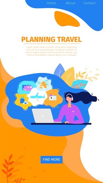 Planning reizen online service platte vector website Gratis Vector