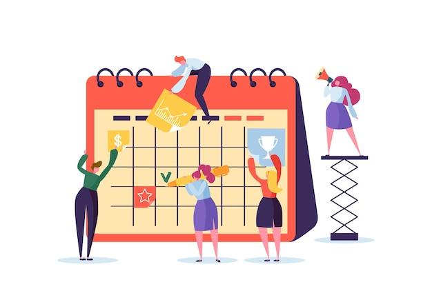 Planning schedule concept met zakelijke karakters werken met planner. teamwerk samen. vlakke mensen die samenwerken met tijdschema. Premium Vector