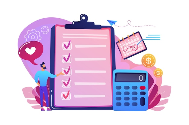 Planning van financiële analisten bij checklist op klembord, rekenmachine en kalender. budgetplanning, evenwichtige begroting, concept voor het beheer van het bedrijfsbudget. Gratis Vector