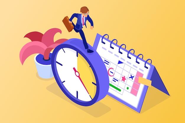 Planning van tijdbeheer met stopwatch-kalender en zakenman Premium Vector