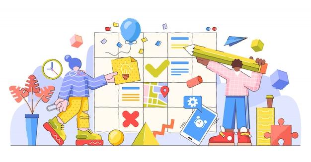 Planningsproces en controle, creatieve illustratie Premium Vector
