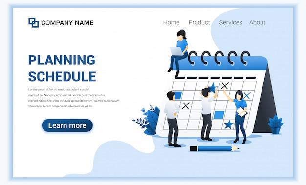 Planningsschema met een man die het schema op een gigantische kalender invult, werk in uitvoering. Premium Vector