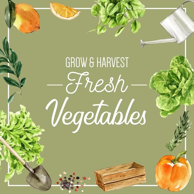 Plantaardige aquarel verfcollectie. gezonde de advertentieillustratie van het vers voedsel organische decor Gratis Vector