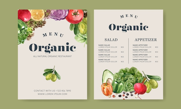 Plantaardige aquarel verfcollectie. gezonde illustratie van het vers voedsel de organische menu Gratis Vector
