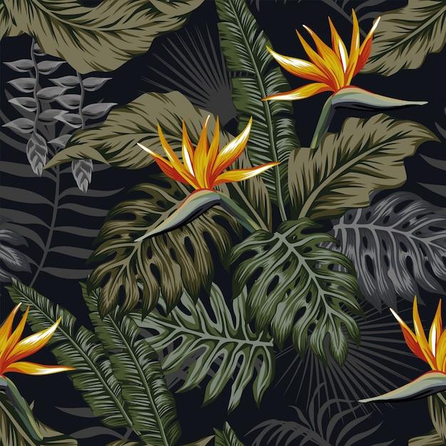 Planten en bloemen van het nacht de tropische naadloze patroon Premium Vector