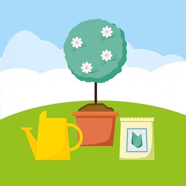 Planten in de tuin Gratis Vector