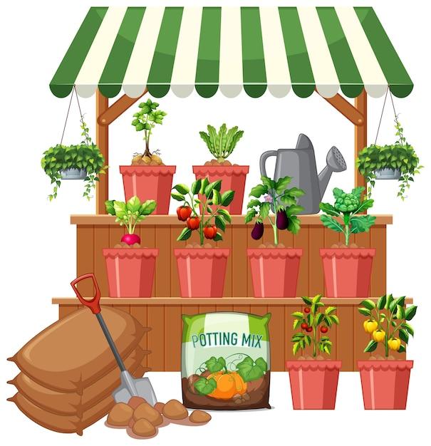 Plantenwinkel met veel groenteboom op witte achtergrond Gratis Vector