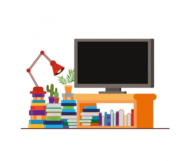 Plasmatv in houten plank met boeken Premium Vector