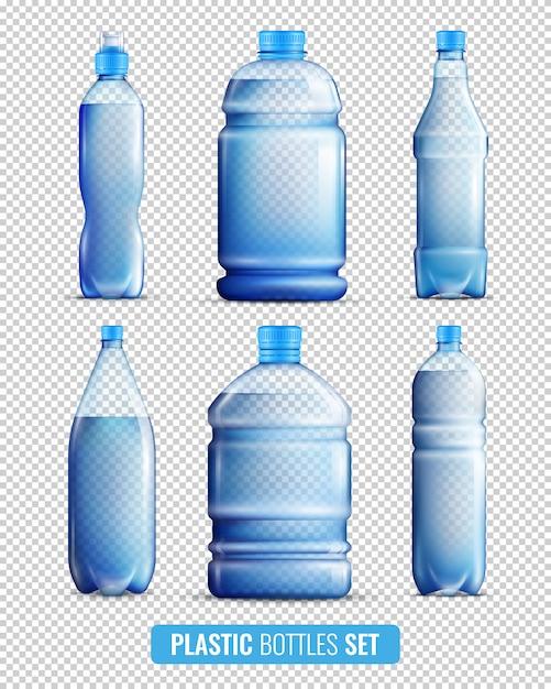 Plastic flessen transparante icon set Gratis Vector