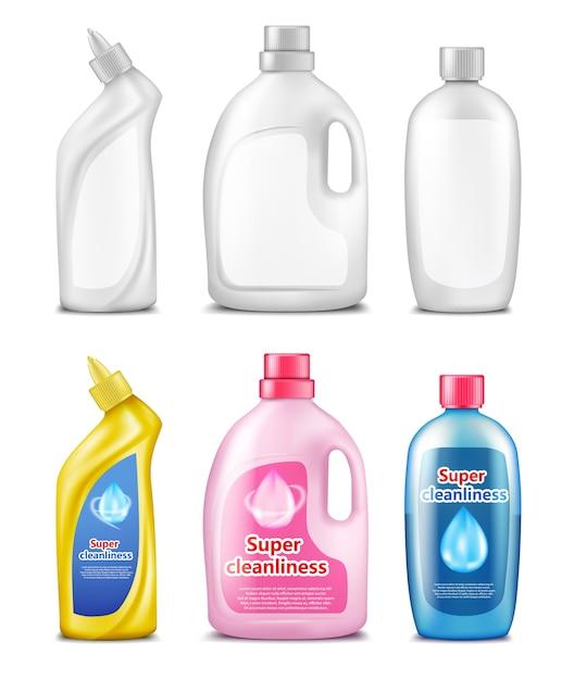 Plastic flessen voor het reinigen van producten Gratis Vector