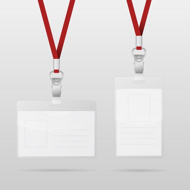 Plastic id horizontale en verticale badges met rode lanyards Premium Vector