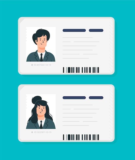 Plastic identificatiekaarten van een vrouw en een man. Premium Vector