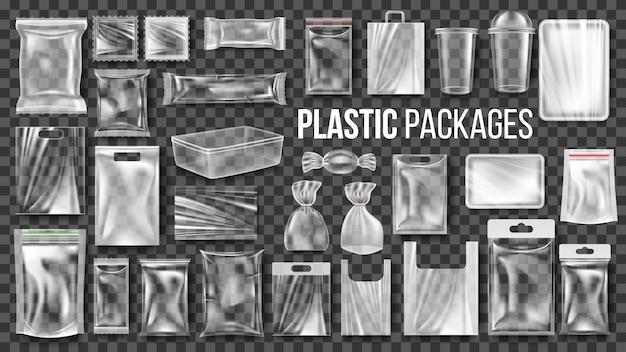 Plastic pakketten transparante wikkelset Premium Vector