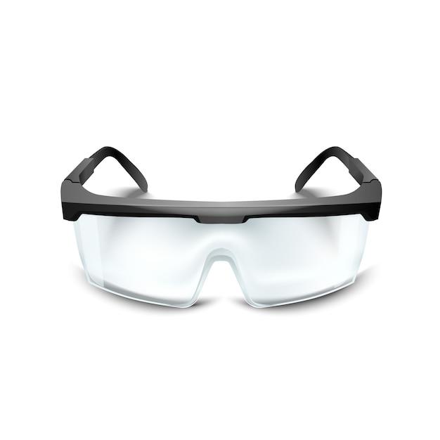 Plastic veiligheidsbril op witte achtergrond. werkbril oogbescherming uitrusting voor bouw, geneeskunde en sport Premium Vector