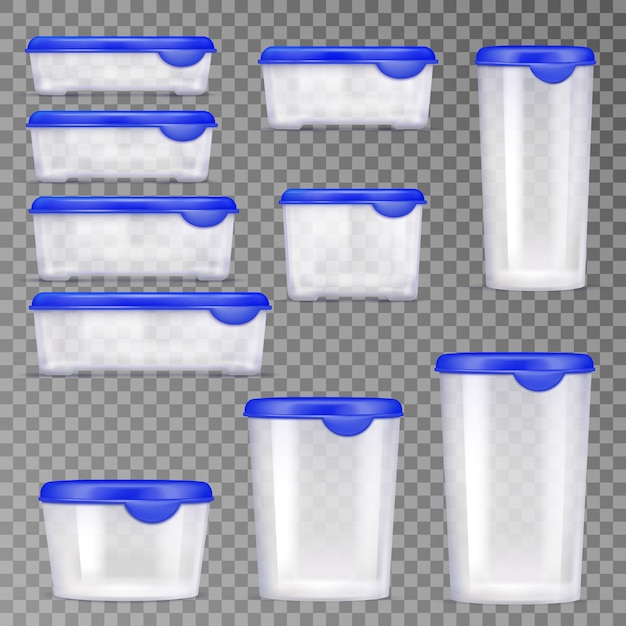 Plastic voedselcontainers icon set Gratis Vector