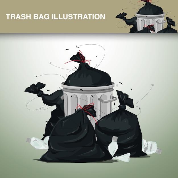 Plastic vuilniszakken illustratie Premium Vector