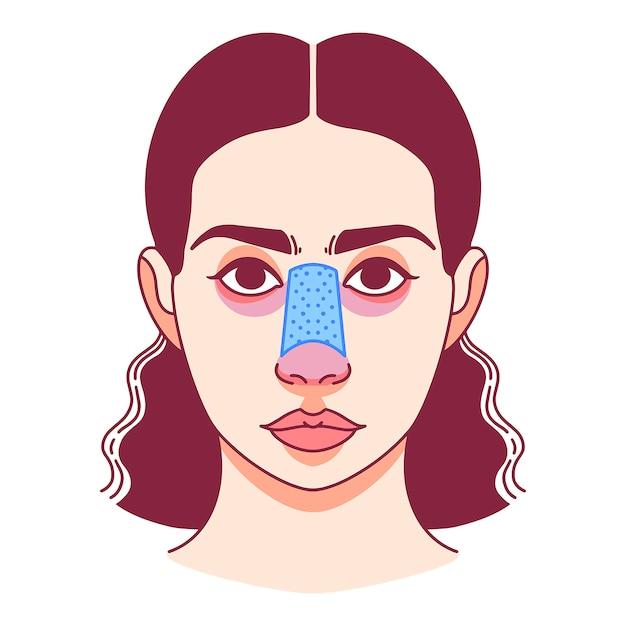 Plastische chirurgie van de neus, neuscorrectie. vector illustratie Premium Vector