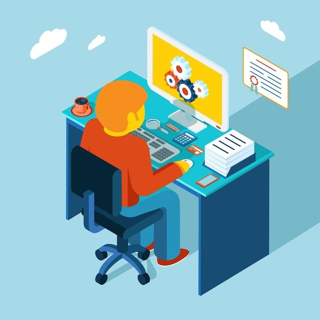 Plat 3d isometrisch ontwerp. man zit op de werkplek en werkt op een computer. Gratis Vector