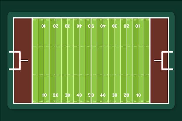 Plat amerikaans voetbalveld in bovenaanzicht Gratis Vector