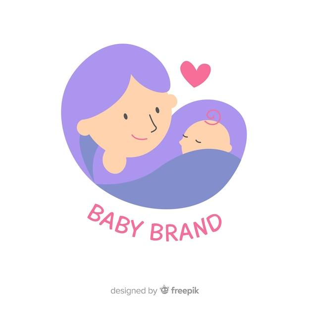 Plat baby logo Gratis Vector
