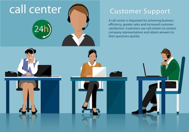 Plat callcenterconcept met man en vrouw in hoofdtelefoons. call center operators werken in lijn met hun headsets op kantoor Premium Vector