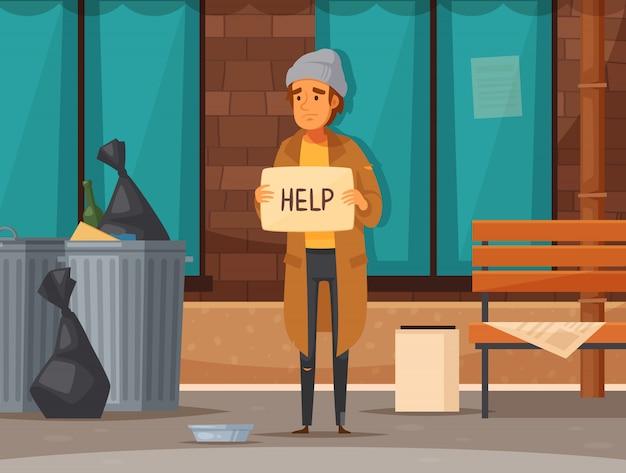 Plat daklozen cartoon samenstelling met man bedelen op straat in de herfst Gratis Vector