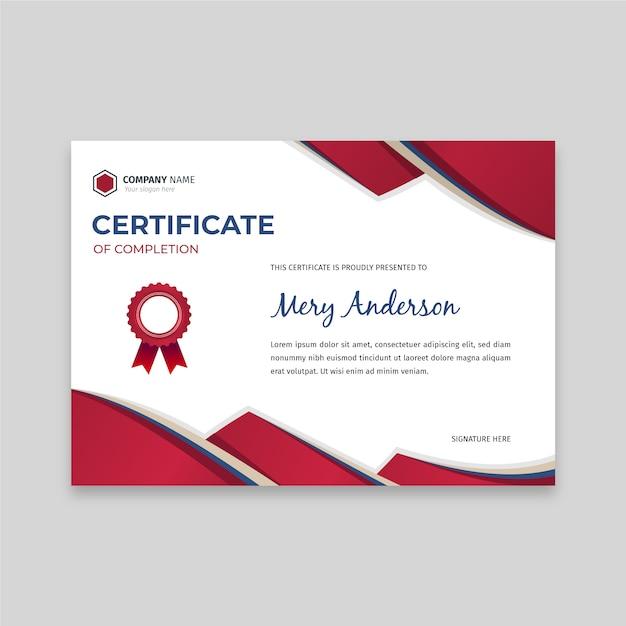 Plat elegant certificaatsjabloon Premium Vector