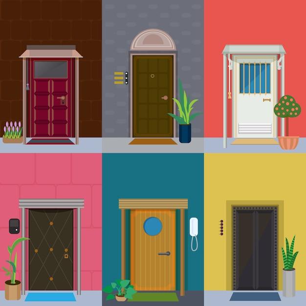Plat elegante kleurrijke deuren set Gratis Vector
