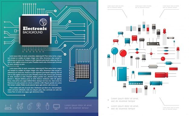 Plat elektronische componenten samenstelling met elektrische printplaat microchips diodes condensatoren en transistors Gratis Vector