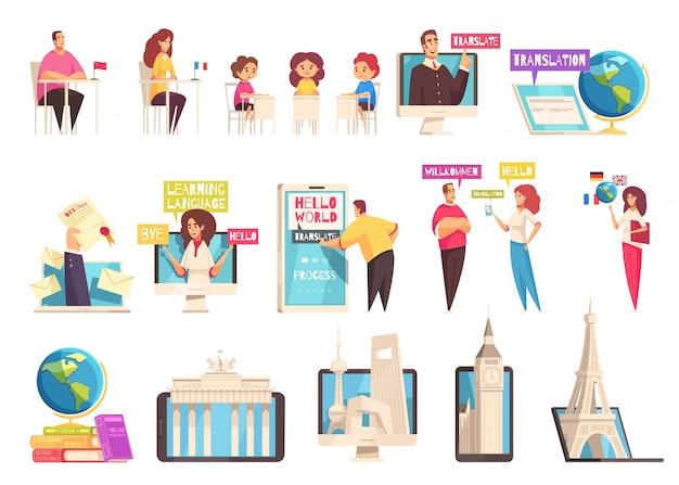 Plat en geïsoleerd leren taaltrainingscentrum icon set met mensen van verschillende leeftijden studeren in de klaslokalen Gratis Vector