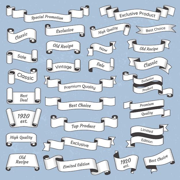 Plat gegraveerd vintage label. oude victoriaanse lintbanners collectie Premium Vector